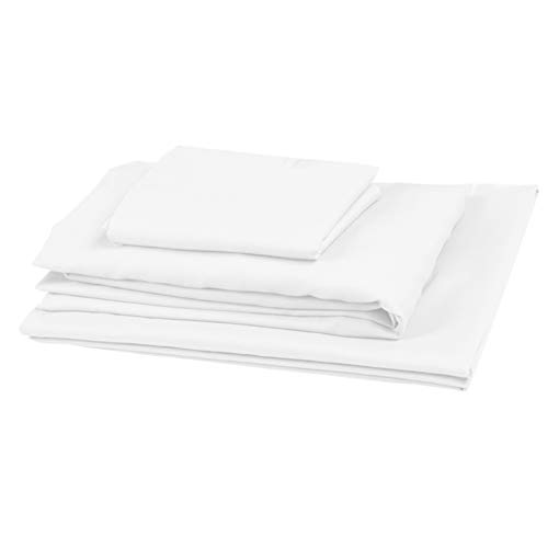 PLAIN PRINTED LINEN 3-Piece Toddler Sheet Set, 100% Cotton Fitted Sheet, Flat Sheet and Envelope Pillowcase, Toddler Bed Set,Crib Sheets Set,Mini Crib Sheets (White Solid)