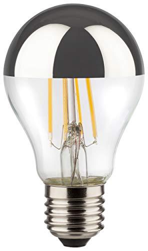 MÜLLER-LICHT Retro-LED Lampe Birnenform ersetzt 50 W, Glas, E27, 6.5 W, silber, 6 x 6 x 10.5 cm