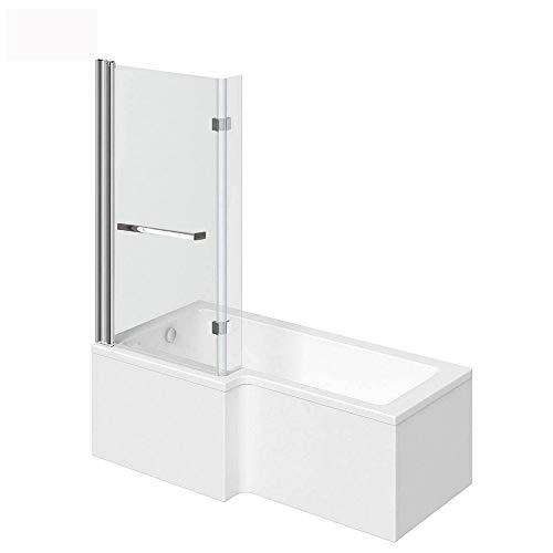 Home Deluxe - Badewanne mit Duschwanne - Elara rechts - inkl. komplettem Zubehör und Duschabtrennung I Duschwanne, Badewanne mit Dusche