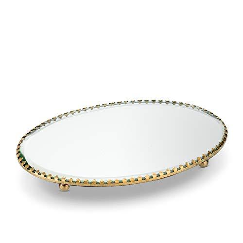 Abbott Collection - Bandeja Ovalada (5 x 7,5 cm, Espejo/latón)
