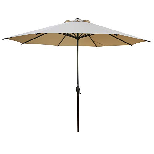 Abba Patio 11ft Patio Umbrella Outdoor Umbrella Patio Market Table Umbrella with Push Button Tilt and Crank for Garden, Lawn, Deck, Backyard & Pool, Beige