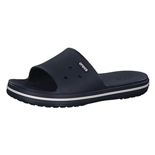 Crocs Crocband III Slide Sandal, Navy/White, 12 US Women / 10 US Men