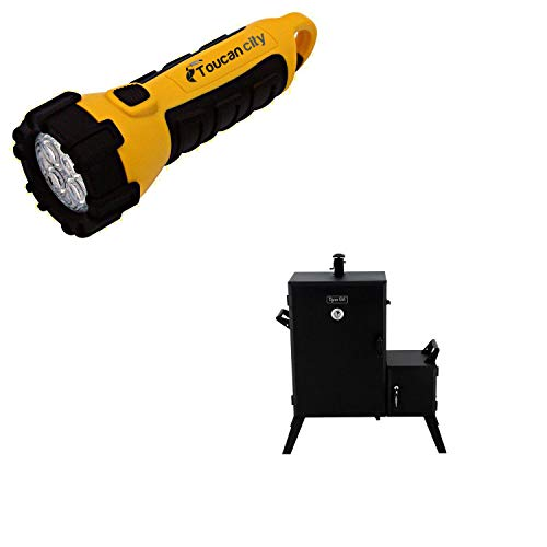 Toucan City LED Flashlight and Dyna-Glo Vertical Wide Body Offset Charcoal Smoker DGO1890BDC-D