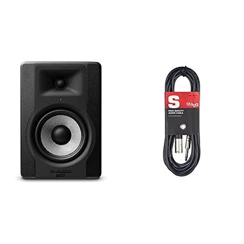 """M-Audio Bx5 D3 Monitor De Estudio/Altavoz Activo Profesional Bidireccional, 100 W con Woofer 5"""" para Producción Musical Y Mezcla De Música + Stagg Sac3Pxm DL Cable XLR Macho A Jack 6,3 Mm"""