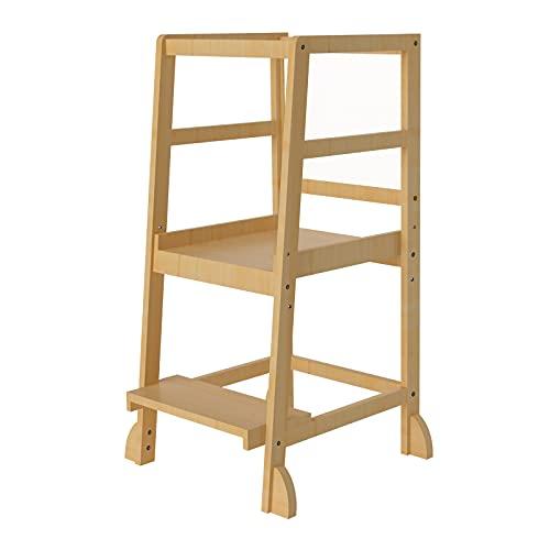 Novhome Küchenturm für Kleinkinder, Küchenhelfer, verstellbarer Lernhocker mit Sicherheitsschiene & Tafel für Kinder ab 16 Monaten bis 3 Jahren (Naturholz)