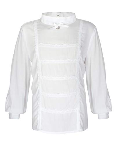 GULLIVER Lange Witte Blouse Meisjes Blouse met Kraag Feestelijk Effen 3 6 Jaar 98-116 cm