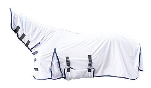 HKM 7076 Fliegendecke Lyon mit festem Halsteil, Fliegenschutzdecke Pferdedecke, Weiß, 155 cm