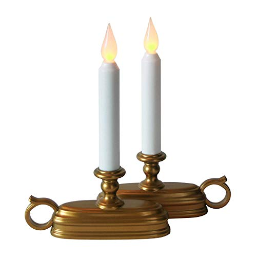 LampLust Set of 2 Olde English Flameless Window Taper Candle with Brass Base - 8 Hour Auto Timer