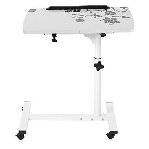 Pissente Escritorio portátil multifuncional de pie, mesa de ordenador de pie extraíble sobre ruedas, altura ajustable, estructura sólida para el hogar (blanco)