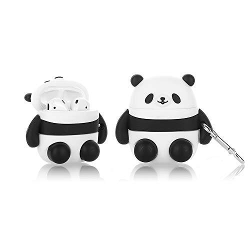 Suublg 3D Cartoon Airpods Hülle mit Schlüsselanhänger, Niedliche Animationen Design Silikon AirPods Ladekoffer Cartoon Schutzhüllen Kompatibel mit AirPods 1 2 für Jungen und Mädchen (Panda)