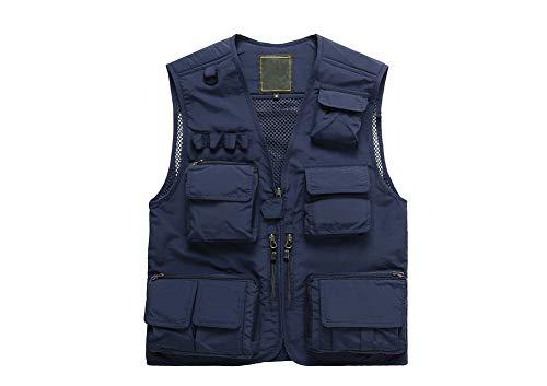 G Lake Men's Outdoor Fishing Hiking Vest Multi-Pocketed Sleeveless Mesh Quick-Dry Waistcoat Jacket Coat Best for Photography Journalist Travelers(Navy XL)