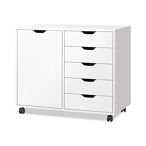 DEVAISE 5-Drawer Wood Dresser Chest with Door, Mobile Storage Cabinet, Printer Stand for Home Office, White