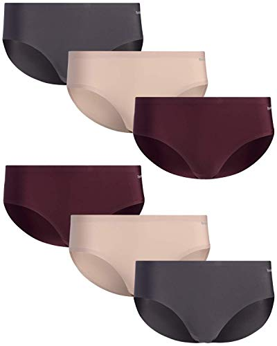 Reebok Women's Underwear - No-Show Hipster Panties (6 Pack), Size Medium, Charcoal/Burgundy/Rose Dust