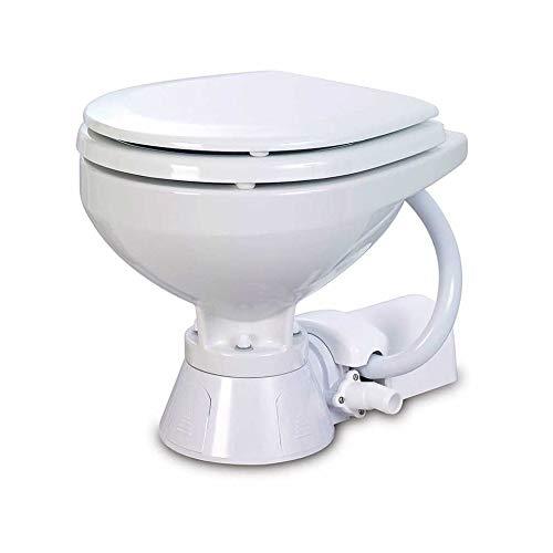 BTK WC Toilette Bagno Marino Elettrico da 12 Volt Bianco in Porcellana a Pavimento per Barca Nautico Camper Campeggio