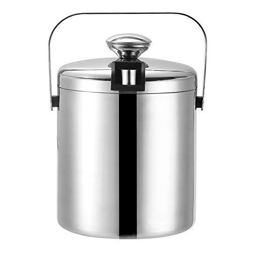 Edelstahl Eisbehälter mit Deckel inkl. Zange, und Sieb , Doppelt isolierter Eiswürfelbehälter mit Tragegriff für optimal gekühlte Eiswürfel und Getränke (1.3L)