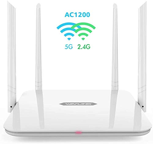 WAVLINK AC1200 Dual-Band Wireless Router, High Speed WiFi Router with 5dBi High Gain Antenna for Home Office Internet Gaming (Wlan Access Point/WISP Mode, WPS)