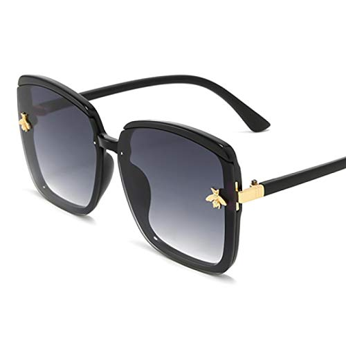 NJJX Honey Bee Gafas De Sol Mujer Vintage Retro Flat Top Thin Shadow Gafas De Sol Cuadrado Pilot Lujo Grandes Tonos Negros Negro