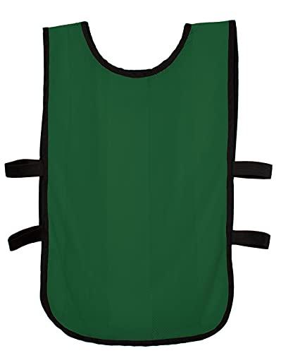 RONEX SPORTS Petos de Entrenamiento elásticos 10 Unidades para niños, jóvenes y Adultos (Petos Deportivos, Petos de Futbol) (Verde Oscuro, Senior)