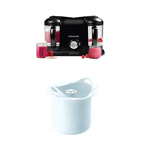 BÉABA Babycook Duo, Robot Bébé 4 en 1 Mixeur-cuiseur, Noir + Panier de Cuisson Féculents pour Babycook Solo et Duo