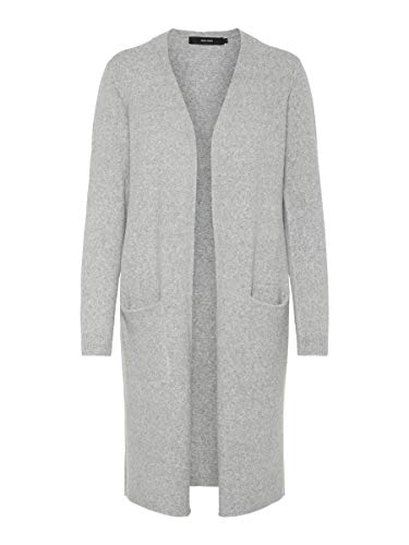 VERO MODA Damen Strickjacke Open MLight Grey Melange
