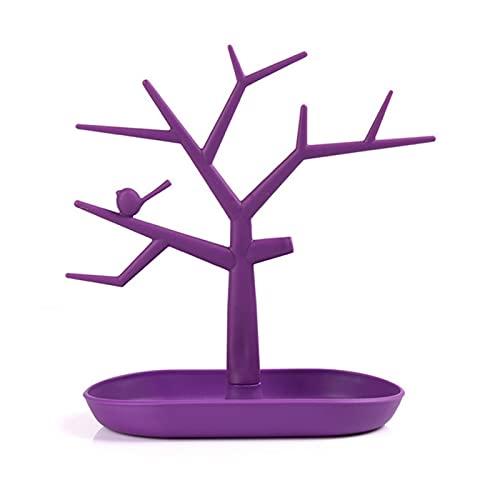 Rama de joyería Pulsera Pendiente Anillo Anillo Organizador Rack 5 Colores Plástico Pájaro Árbol Joyería Almacenamiento Soporte Soporte Bandeja (Color : Purple)