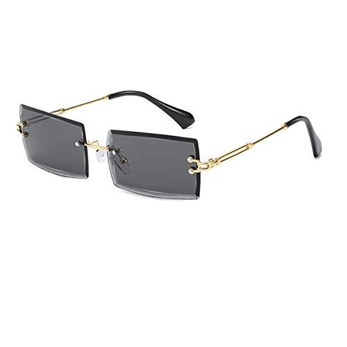 YOJUED Vintage Randlose Sonnenbrille für Damen und Herren Mode Retro Rechteck Brille UV400 Schutz