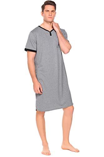 Pijama de manga corta para hombre con cuello en V y bolsillo en el pecho gris XXXL
