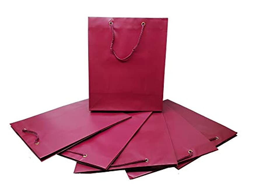 """Pack of 6 Solid Colored Gift Bags (12"""" h x 10"""" w x 5"""" d) with String Handles (Maroon)"""