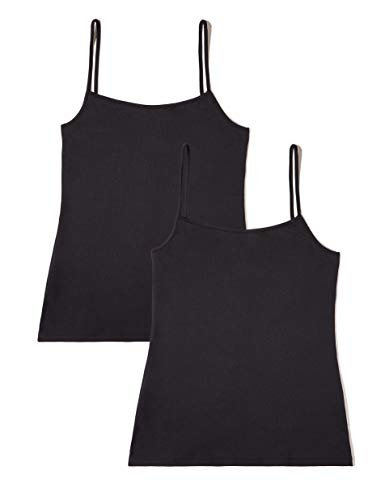 Marca Amazon - IRIS & LILLY Basic Microfibre Tank Camiseta sin mangas Mujer, Pack de 2