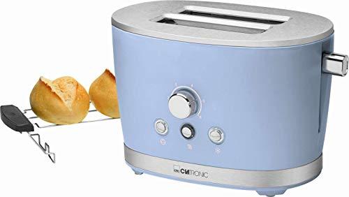 Toaster mit Brötchenaufsatz Blau Edelstahl Regelbarer Thermostat (Retro, 850 Watt, 2 Toastschlitze, Krümelschublade)