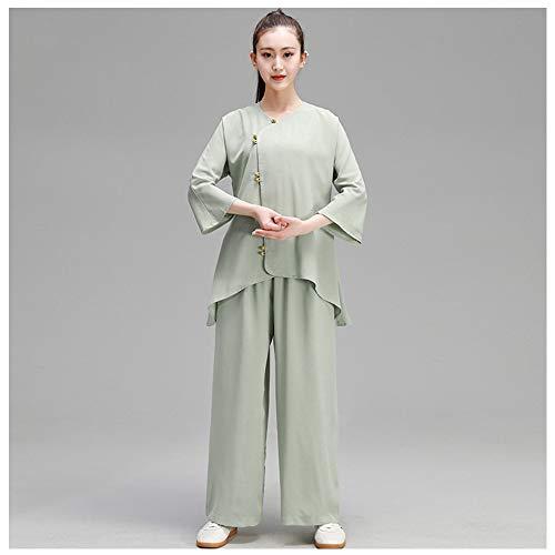 Tai Chi Anzug Kung Fu Kleidung, Tai Chi Uniform Kleidung Qi Gong Kampfkunst Wing Chun Shaolin Kung Fu Taekwondo Trainingskleidung Bekleidung Kleidung Für Senioren Anfänger Männer Frauen,Green-M