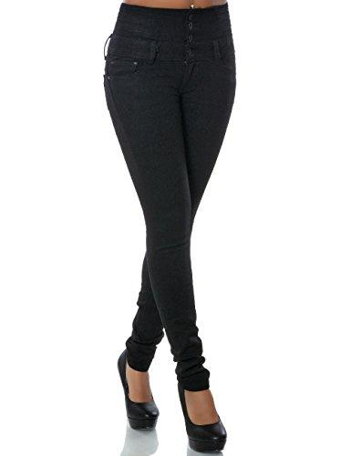 Damen Jeans Hose Skinny (Hochschnitt Röhre) No 14158 Schwarz 34 / XS