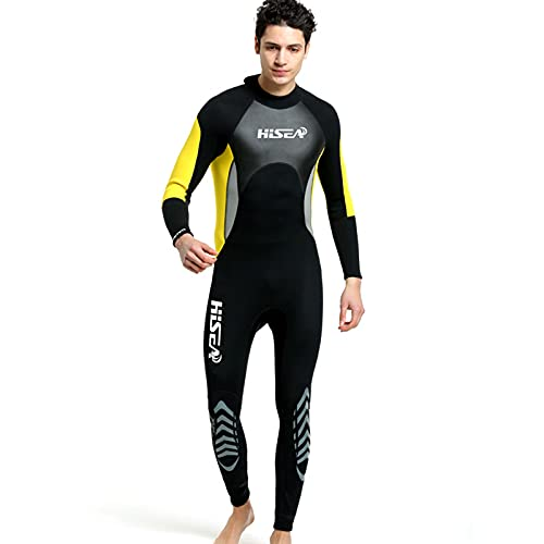 Traje De Neopreno De Neopreno De Neopreno De 3 Mm para Los Trajes De Buceo De Manga Larga para Hombre con Protección UV con Traje De Trabajo Completo para Nadar En Kayak De Kayaking,Amarillo,M