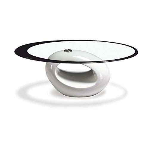 Fab Glass and Mirror CTW-FAB3000 High Gloss Coffee Oval Tempered Glass Top End Side Table, White