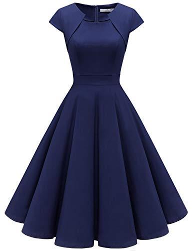 HomRain Damen 50er Vintage Retro Kleid Party Kurzarm Rockabilly Cocktail Abendkleider Navy S