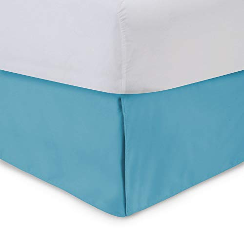 Tailored Bed Skirt - Twin, 14 inch Drop, Cotton Blend , Aqua, Bedskirt with Split Corners(Available in and 16 Colors) Blissford