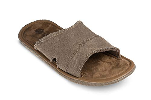 Khombu Seth Engineered Leather Slides for Men, Comfortable Flat Suede Sandals Taupe, 13
