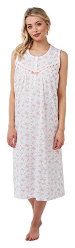Damen Nachthemd, ärmellos, 100 % Baumwolle, Jersey, Schmetterling-Druck, Pink, Aqua, Koralle oder Flieder Größen 36-38, 40-42 Gr. 48/50 DE, korallenrot