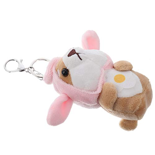 TOYANDONA Dog Keychain Soft Plush Shiba Inu Key Ring Stuffed Animals Handbag Pendant Charms Bag Hanging Ornament Birthday Party Centerpiece Gift Pink