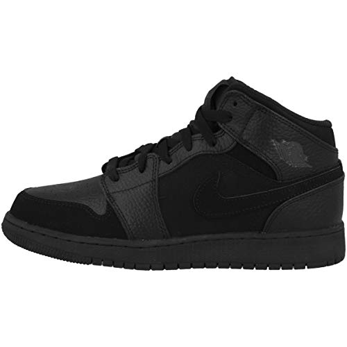 Nike Air Jordan 1 Mid (GS), Zapatillas de Deporte para Hombre, Multicolor (Black/Dk Smoke Grey/Black 064), 38.5 EU