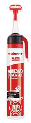 fischer 1 Adhesivo de Montaje (200 ml) de Alto Rendimiento para adherir Materiales de construcción Pesados, Forma Profesional, fijación y Seguridad, fácil aplicación sin Pistola de Silicona, Blanco