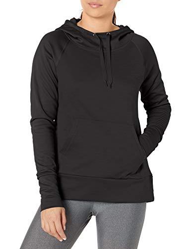 Hanes Women's Sport Performance Fleece Pullover Hoodie, Black Solid/Black Heather, L