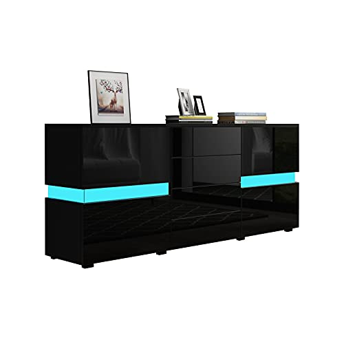 Senvoziii Sideboard Kommode in Hochglanz Schwarz Highboard Anrichte Standschrank mit 2 Türen 4 Schubladen und LED Beleuchtung 177 cm