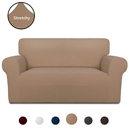 PureFit Super Stretch Chair Sofa Slipcover – Spandex Non Slip Soft Couch Sofa Cover, Washable Furniture Protector with Non Skid Foam and Elastic Bottom for Kids, Pets (Loveseat, Camel)