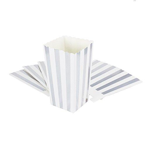 Oblique-Unique® Popcorn Snack Box Schachtel Tüten 8 Stück Tisch Dekoration (Weiß Silberstreifen)