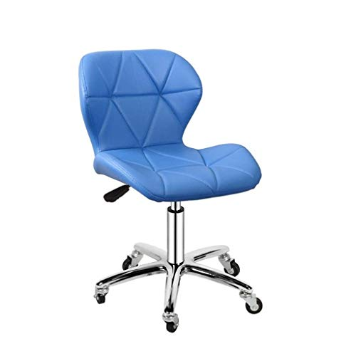 ZXL Office Swivel Chair, PU Leather Desk Chair for Home, Comfy Padded Computer Chair with on Wheels, Lift Chrome Base, Adjustable Height, Bedroom Furniture (Color : Blue)