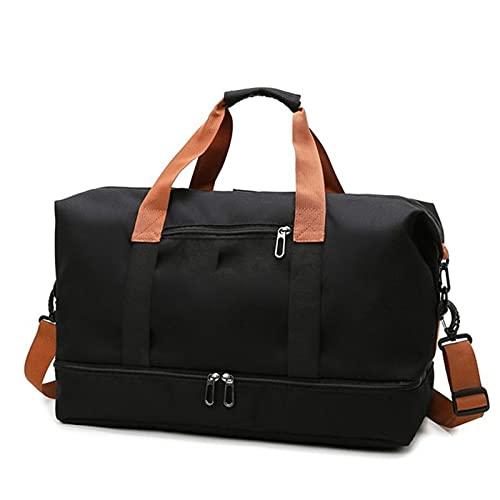 YYDM Bolsa de viaje para mujer, impermeable, de gran capacidad, bolsa de viaje para fin de semana, ligera, bolsa de viaje, color negro