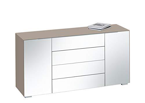 MAJA Möbel Best 7216 Kommode, Abmessungen (BxHxT): 159 x 79,40 x 46,20 cm, Glas Sand matt-grauspiegel, 159 x 46,20 x 79,40 cm