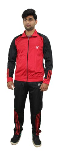 FRIEND4EVER FF Men Sports Red & Black Solid Regular Fit Rapid-Dry Lifestyle Tracksuit