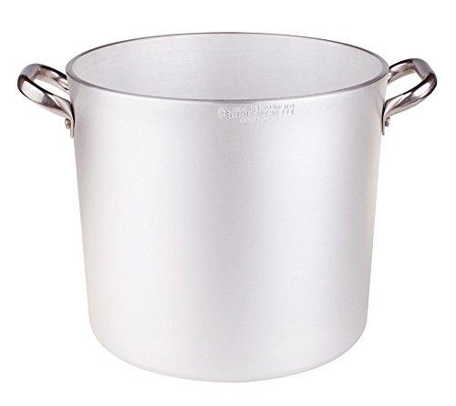45 litros Sartenes Agnelli Pan de Aluminio, 5 mm de Espesor, con 2 Asas en Acero Inoxidable, de 45 litros, Plata